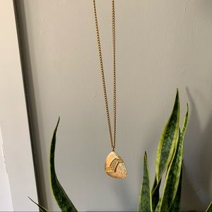 "Vintage Gold Pendant Necklace on 25"" Chain"
